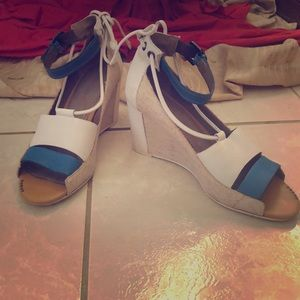 Anthropologie Blue, White and Nude Wedge Shoes